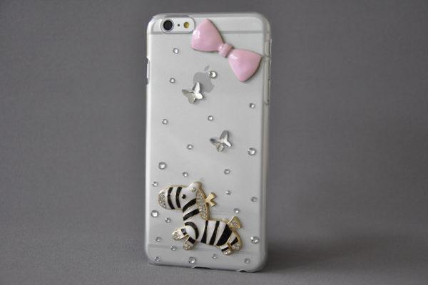 Bridge94 iPhone 6 Plus / Plus S Back-Cover mit Kristallen und Zebra