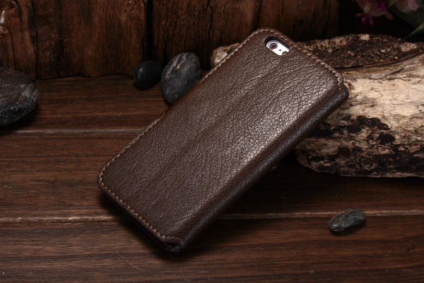 Bridge94 iPhone 6 Plus / Plus S PU-Leder-Wallet - glanz strukurierte Oberfläche, braun