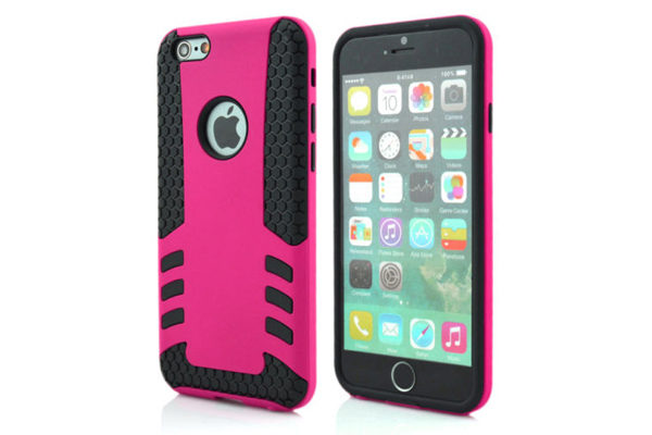 Bridge94 iPhone 6 Plus / Plus S Shockproof-Back-Cover, dunkelrosa