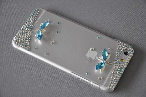 Bridge94 iPhone 6 Plus / Plus S Back-Cover transparent mit Kristallen SCHMETTERLING