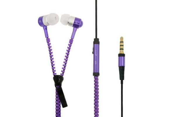 Bridge94 Stereo In-Ear Kopfhörer 3.5 mm mit Mikrofon - Reissverschluss, violett
