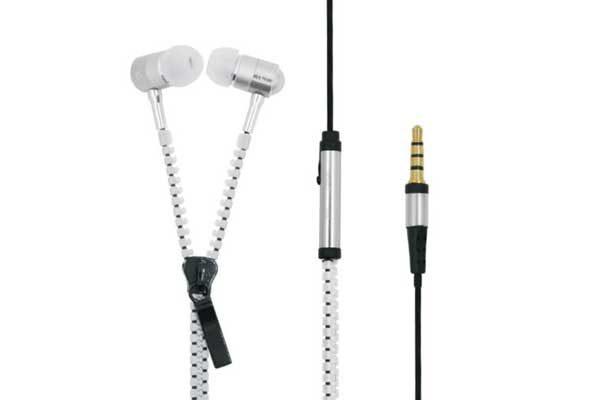 Bridge94 Stereo In-Ear Kopfhörer 3.5 mm mit Mikrofon - Reissverschluss, weiss