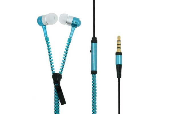 Bridge94 Stereo In-Ear Kopfhörer 3.5 mm mit Mikrofon - Reissverschluss, blau