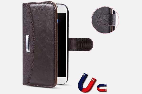 Bridge94 Luxus Business iPhone 7 Leder-Wallet, schwarz