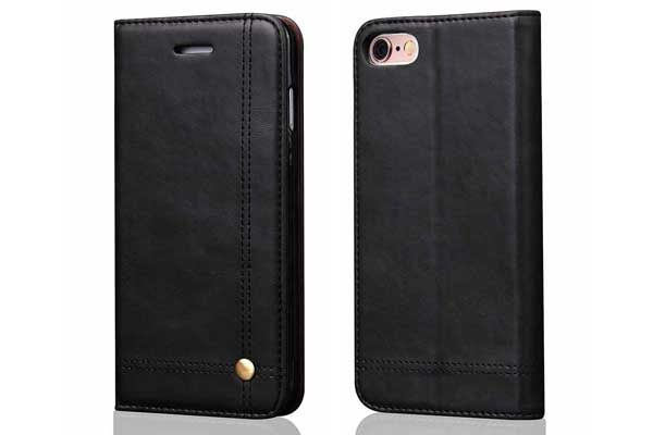 Bridge iPhone 7 Flip-Leder-Etui, schwarz