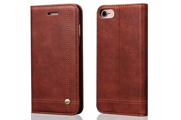 Bridge iPhone 7 Flip-Leder-Etui, braun