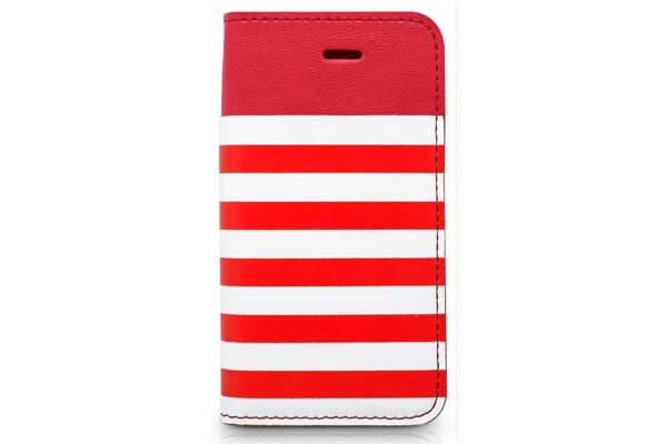 Kajsa iPhone 5/5S/SE Wallet-Case °Resort Collection Stripe°, rot