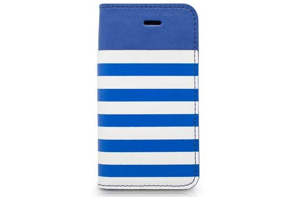 Kajsa iPhone 5/5S/SE Wallet-Case °Resort Collection Stripe°, blau