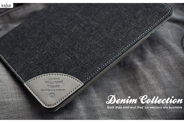 Kajsa iPad Mini / Mini 2 Flip-Case °Denim Collection°, schwarz