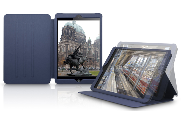 Kajsa iPad Mini / Mini 2 Book-Case °Metallic Collection°, dunkelblau