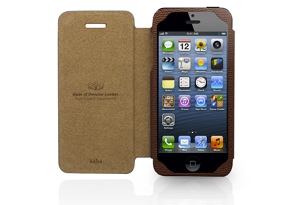 Kajsa iPhone 5/5S/SE Echtleder-Flip-Case °Neo Classic Collection°, braun