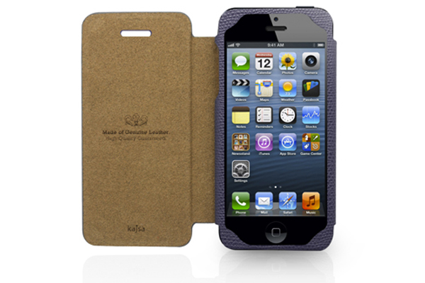 Kajsa iPhone 5/5S/SE Echtleder-Flip-Case °Neo Classic Collection°, dunkelviolett