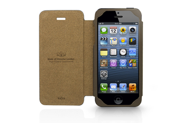 Kajsa iPhone 5/5S/SE Echtleder-Flip-Case °Neo Classic Genuine Oil Collection°, tan