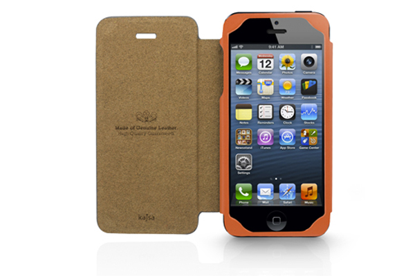 Kajsa iPhone 5/5S/SE Echtleder-Flip-Case °Neo Classic Genuine Oil Collection°, orange