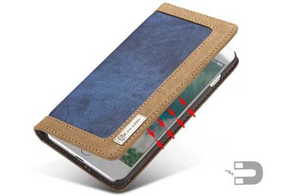 CaseMe iPhone 7 Plus Canvas Etui/Case mit 2 Kreditkartenslots sowie Magnetverschluss, blau-braun