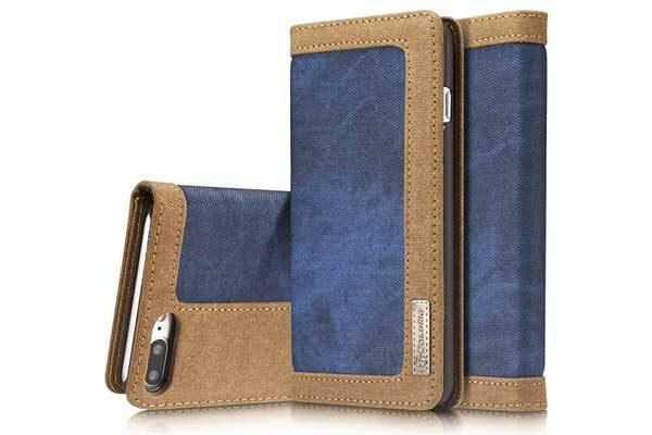 CaseMe iPhone 7/8 Plus Xs Max Canvas Etui/Case mit 2 Kreditkartenslots sowie Magnetverschluss, blau-braun 1