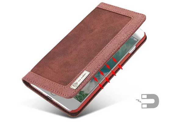 CaseMe iPhone 7 Plus Canvas Etui/Case mit 2 Kreditkartenslots sowie Magnetverschluss, rot