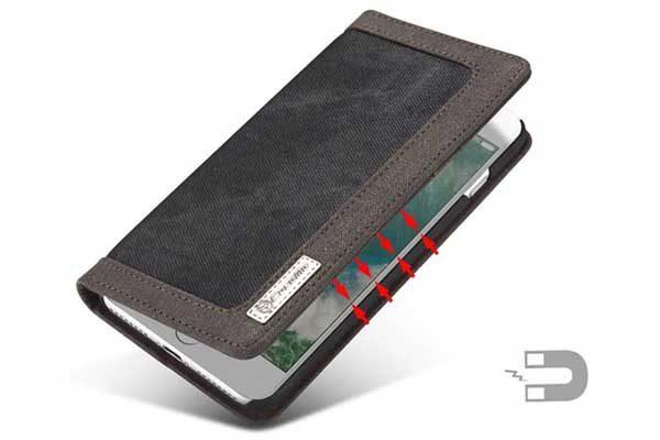 CaseMe iPhone 7 Plus Canvas Etui/Case mit 2 Kreditkartenslots sowie Magnetverschluss, schwarz