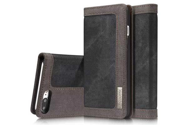 CaseMe-iPhone -7-8-Plus-Xr-Canvas-Etui-Case-Kreditkartenslots-Magnetverschluss-schwarz-1