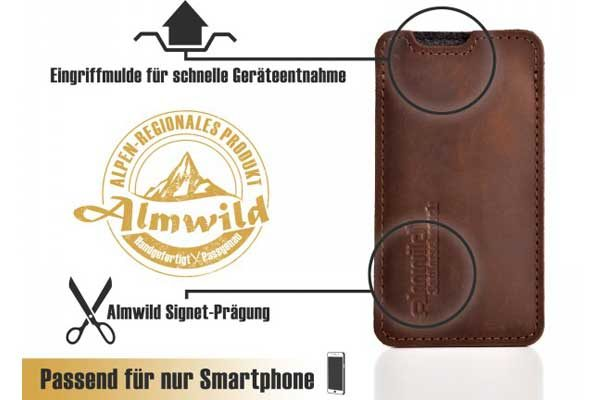 Almwild Hülle/Etui/Pouch iPhone Sattlerschorsch Leder mit Logo, dunkelbraun