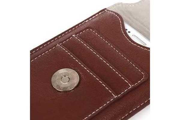 Bridge94 iPhone 6 Plus/6S Plus/7 Plus Gürtel-Holster-Tasche mit Kreditkarten-Fächern vertikal, braun