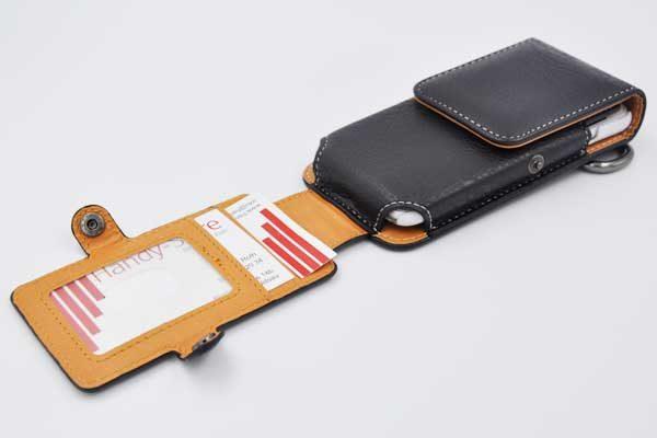 Bridge94 iPhone 6/6S/7 Gürtel-Holster-Tasche vertikal mit 2 Kreditkartenfächern, schwarz strukturiert