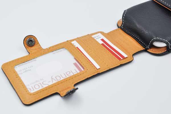 Bridge94 iPhone 6 Plus/6S Plus/7 Plus Gürtel-Holster-Tasche vertikal mit 3 Kreditkartenfächern, schwarz strukturiert