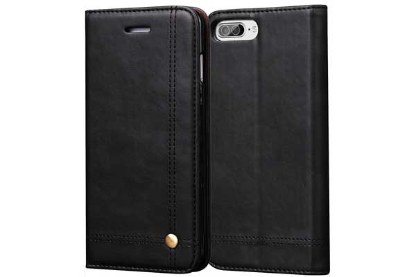 Bridge iPhone 7 Plus Flip-Leder-Etui, schwarz