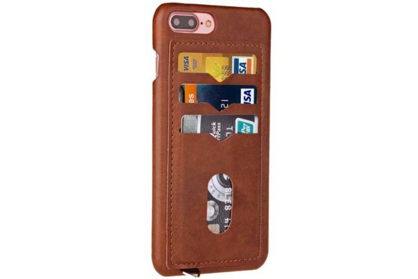 Bridge94 iPhone 7 Plus PU-Leder Backcover mit Kreditkartenfächern, braun