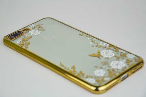Bridge94 iPhone 7 Plus Shockproof-Silikon-Backcover, gold-weiss mit Blüten