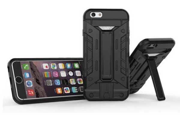 Bridge94 iPhone 7 Rugged Armor Hybrid Shockproof Backcover mit Kreditkartenslot, silber