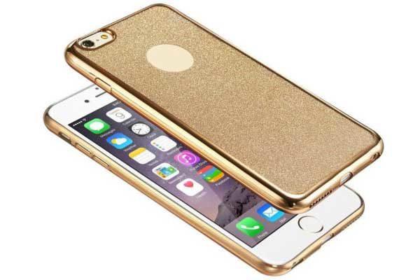 Bridge94 iPhone 7 TPU-Backcover mit goldenem Rand sowie Glitzer-Rückseite