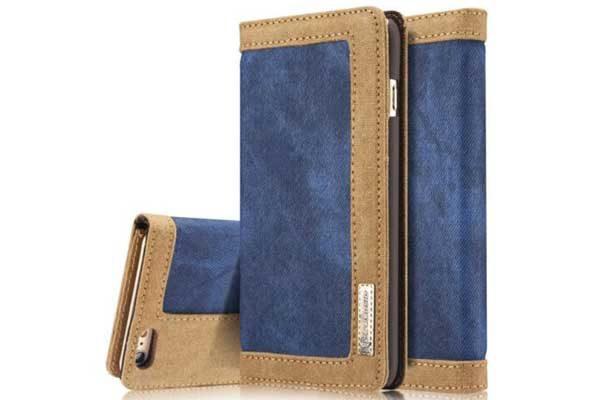 CaseMe iPhone 7 Canvas Etui/Case mit 2 Kreditkartenslots sowie Magnetverschluss, blau-braun