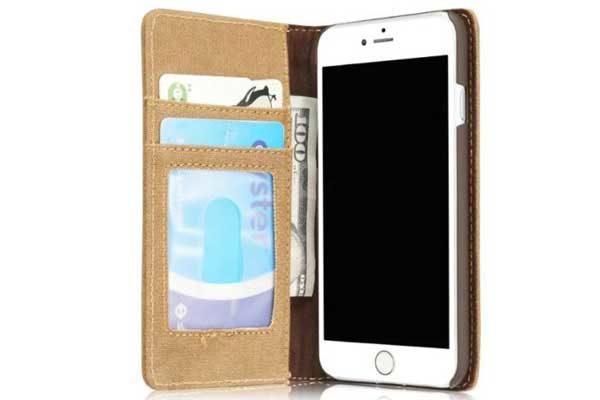 CaseMe iPhone 7 Canvas Etui/Case mit 2 Kreditkartenslots sowie Magnetverschluss, braun