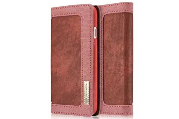CaseMe iPhone 7 Canvas Etui/Case mit 2 Kreditkartenslots sowie Magnetverschluss, rot