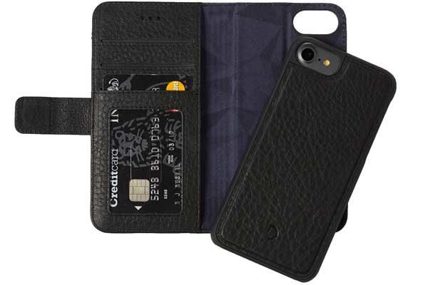 Decoded Premium Leder Wallet mit separatem Backcover für iPhone 6,6s,7,8, schwarz 1