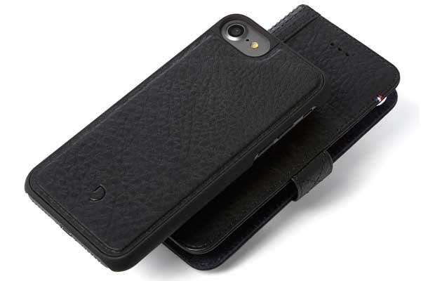 Decoded Premium Leder Wallet mit separatem Backcover für iPhone 7, schwarz