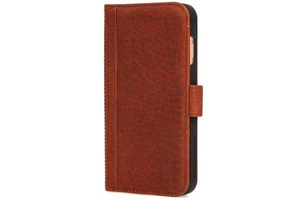 Decoded Premium Leder Wallet mit Kreditkartenfächern und einem magnetischem Verschluss für iPhone 7 Plus, braun