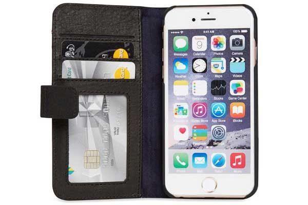 Decoded Premium Leder Wallet mit Kreditkartenfächern und einem magnetischem Verschluss für iPhone 7 Plus, schwarz