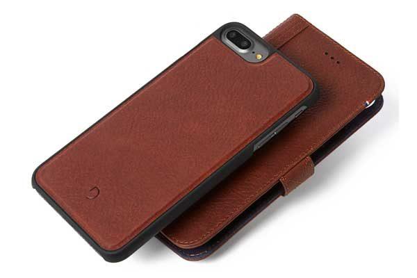 Decoded Premium Leder Wallet mit separatem Backcover für iPhone 7 Plus, braun