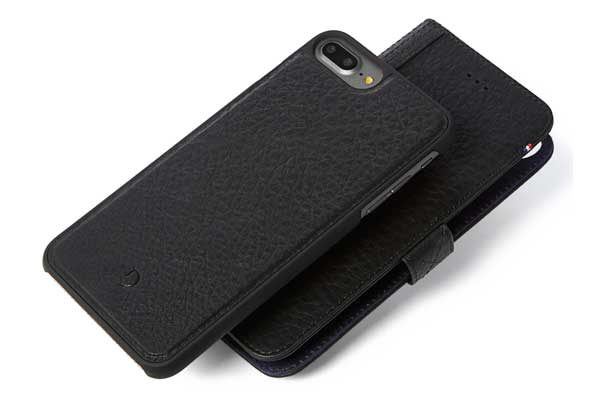 Decoded Premium Leder Wallet mit separatem Backcover für iPhone 7 Plus, schwarz
