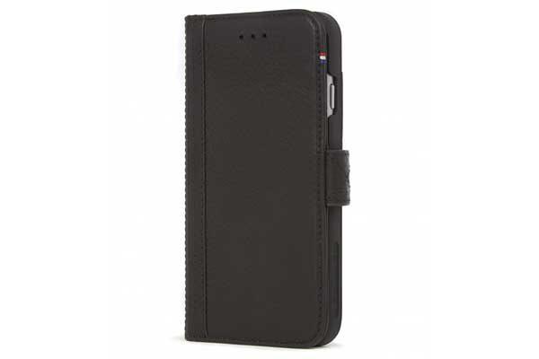 Decoded Premium Leder Wallet mit Kreditkartenfächern und einem magnetischem Verschluss für iPhone 7, schwarz