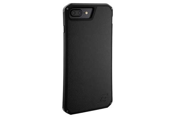ElementCase Solace LX - Modisches Case für iPhone 7 Plus mit Leder Rückseite, schwarz