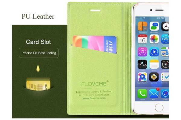 Floveme iPhone 7 PU-Leder-Etui mit Magnetverschluss, gold-schwarz