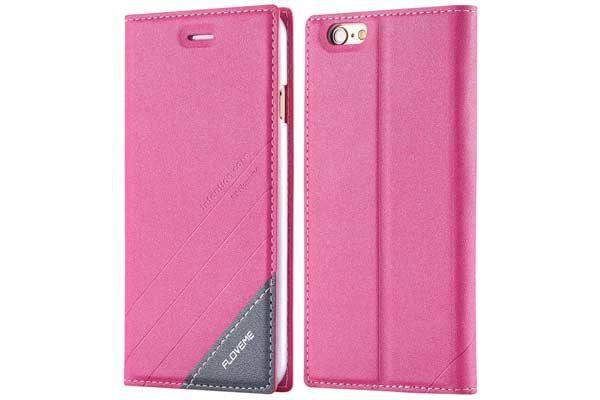 Floveme iPhone 7 PU-Leder-Etui mit Magnetverschluss, pink-schwarz