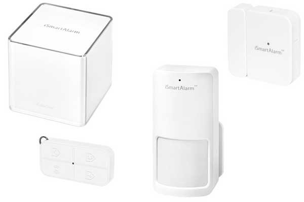 iSmartAlarm Home Security System Starter Pack - 1x Cube, 1x Motion Sensor, 1x Contact Sensor, 1x Remote Tag, weiss