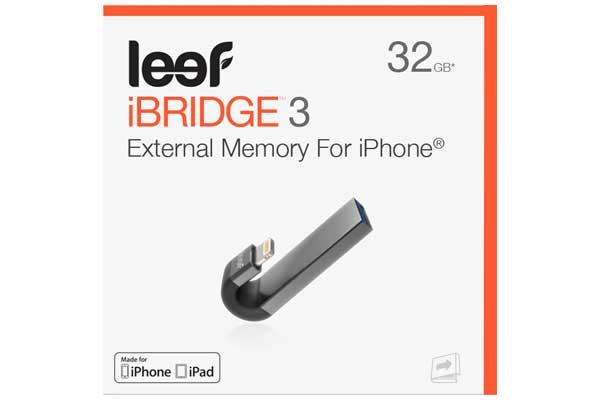 Leef iBridge 3 - Mobile Speichererweiterung für alle Geräte mit Lightning-Anschluss, 32GB, schwarz