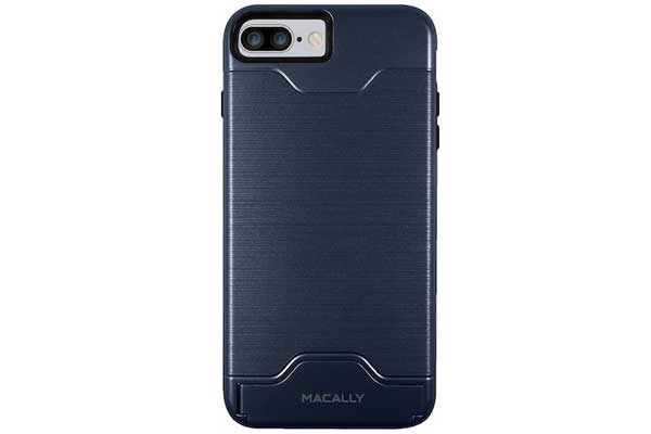 Macally iPhone 7 Plus Card & Stand Case mit Ständer und Kreditkartenfach, blau