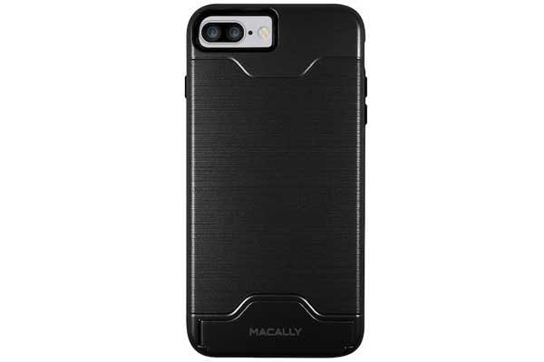 Macally iPhone 7 Plus Card & Stand Case mit Ständer und Kreditkartenfach, schwarz