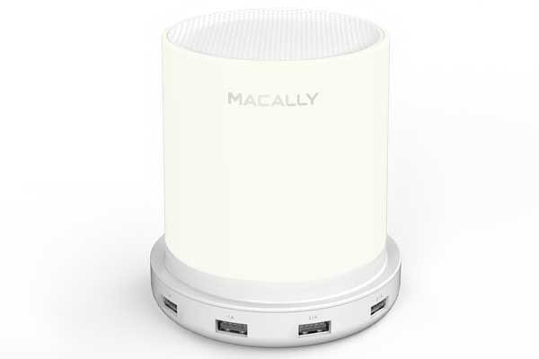 Macally Lampcharge - Stylische Touchlampe mit 3 Helligkeitsstufen & 4 USB-A Ladeports (2x 2.1A & 2x 1A), weiss